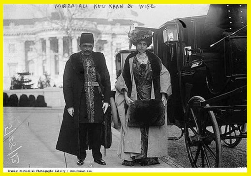 Persian ambassador to the U.S with his German wife n Washington D.C circa 1910 vintage B&W photo