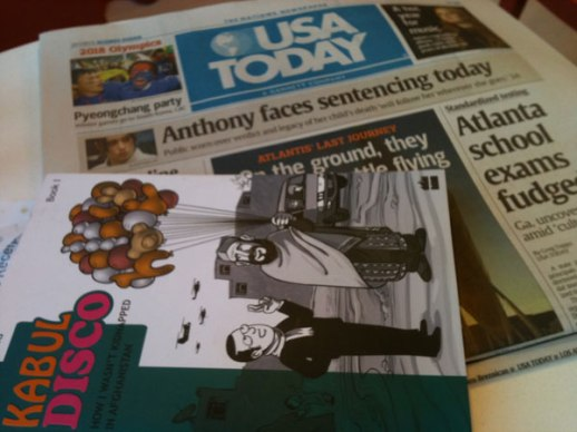 USA Today Anthony Weiner Headline & Kabul Disco, a graphic novel by Nicolas Wild | photo by Fig & Quince (Persian food culture blog)