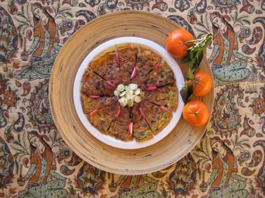 kookoo sabzi Herb kuku Persian food paisley cloth Iranian fabric