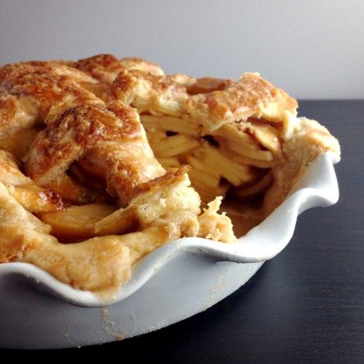 Lattice top apple pie -- rich bubbly and delicious!