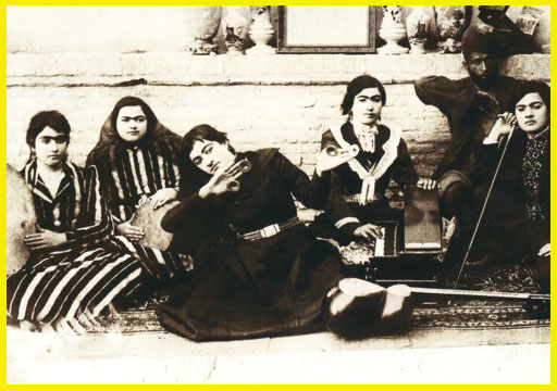 Female Persian Musicians with Eunuch - Qajar Era black and white donbak santoor