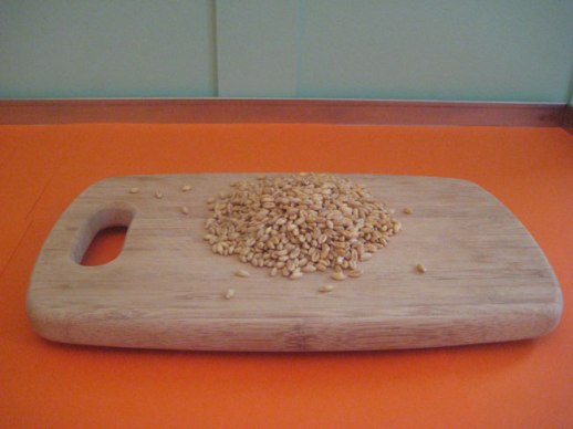Red wheat seeds on cutting board orange background still lfie | @figandquince (Persian food culture blog)