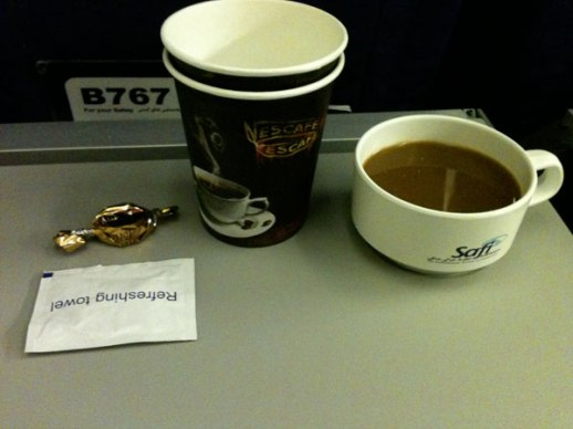 Coffee Refreshments Served at Saffi Airline on Flight from Dubai to Kabul | Photo by Fig & Quince (Persian food culture blog)to Kabul