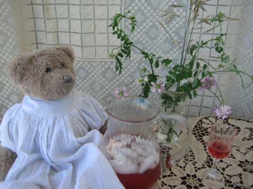 Sharbat Albaloo sour cherry spritzer Persian drink with bear and flowers شربت آلبالو on doily lace table cloth with a stuffed animal bear still life with food Persian food blog