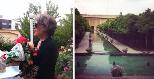 Shiraz garden flowers Zand monument beautiful woman sunglasses Iran