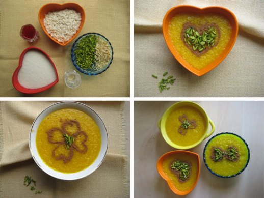 Persian Saffron Rice Pudding 'sholeh zard' & ingredients: pistachio, rice, sugar, saffron, rosewater