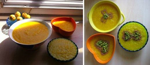 Bowls of Persian Saffron Rice Pudding 'sholeh zard' recipe Iranian food blog rosewater cooking
