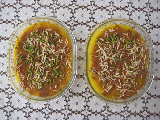 Sholeh Zard traditional Persian sweet rice saffron rosewater recipe Persian food