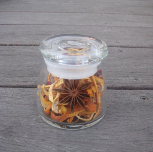 Star anise & orange peels potpourri in glass jar | @Figandquince (Persian food culture blog)