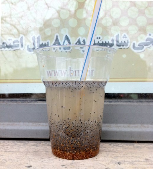 chia khakshir tokhm sharbat persian beverage tehran Iran mugworth grain of teff