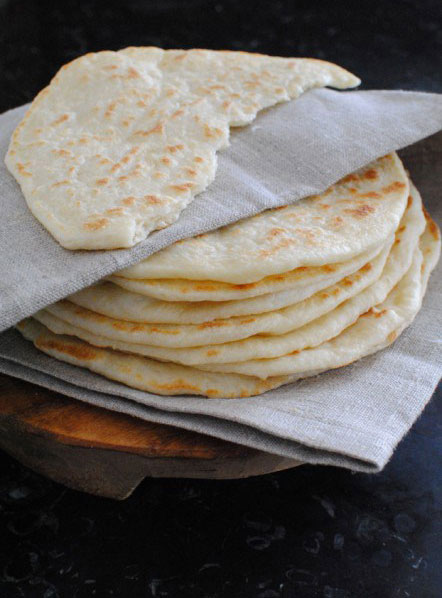 Stack of freshly baked Lavash Persian Bread (Pane Persiano)