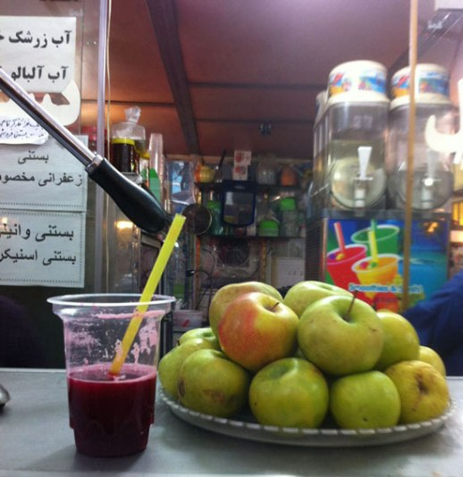 pomegranate juice fresh Tehran Iran green apples