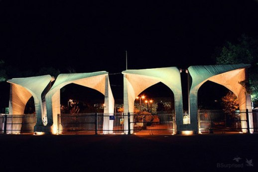 University of Tehran Campus iconic entrance at night  (architecture) Photographer: Behrooz Sangani Tehran, Iran 2007