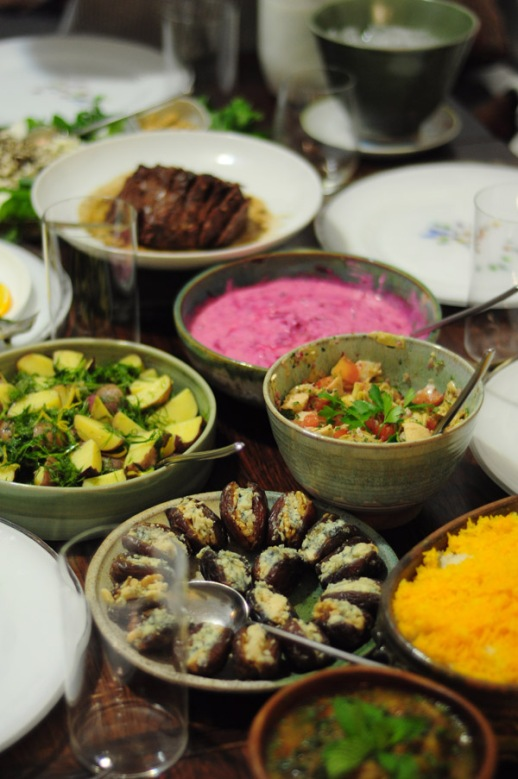 Persian dinner beautiful Iranain food feast | posted by Fig & Quince (Iranian food blog) Photography: Pericles