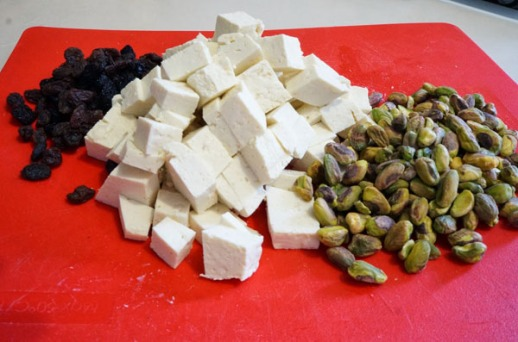 Tofu - Persian Style! with pistachios and raisins Mark Bittman recipe revised posted by Fig &  Quince (Iranian food culture blog)