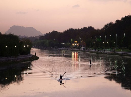 Kayaking in Iran gorgeous river city posted by Fig & Quince (Iranian food culture blog)