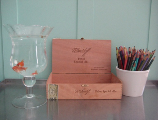 goldfish cigar box color pencils Norooz still life by Fig & Quince (Persian food blog)