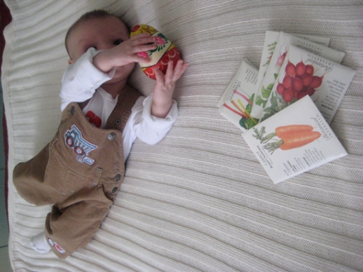baby on bed with seed packets and Russian egg spring Norooz by Fig & Quince (Iranian food blog)
