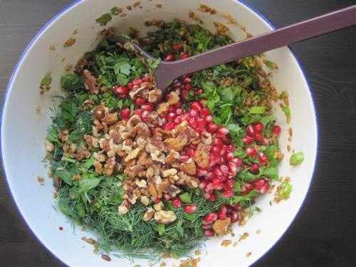 Freekeh, celery, and pomegranate salad
