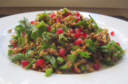 A beautiful freekeh, celery, pomegranate & walnut salad by Tortore posted to Fig Quince Persian food blog