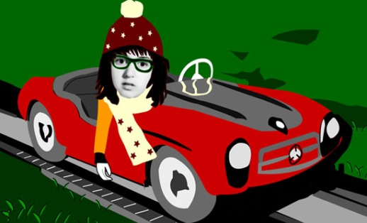 Illustration collage sports car toy girl cute by Fig & Quince (Persian food blog)
