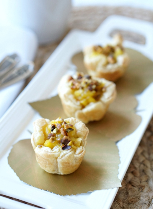 Apple puff pastry with pistachio saffron rosewater and friendship