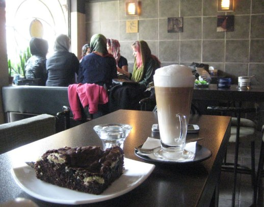 Cafe latte and slice of cake at coffee shop in Tehran (Jordan Avenue) , iran | FigandQuince.com (My Epic Trip to Iran, 2014)