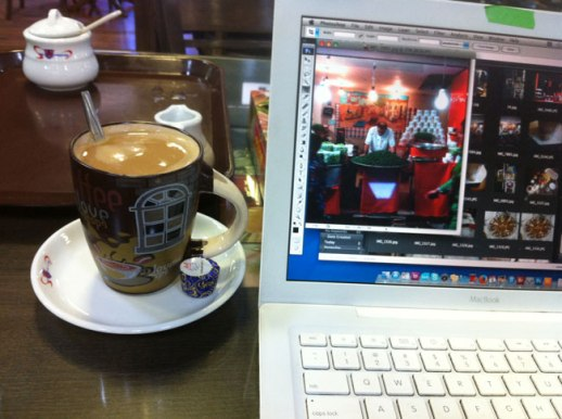 Laptop Coffee w/ chocolate to the side and laptop at Mehrabad Airport, Tehran, Iran | FigandQuince.com (My Epic Trip to Iran, 2014)