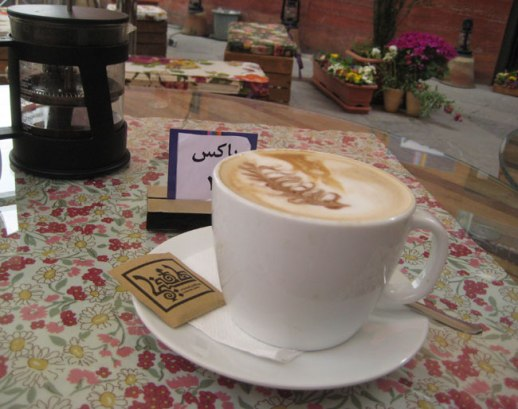 Latte art (coffee) at outdoor garden cafe in Tehran, Iran |FigandQuince.com (My Epic trip to Iran, 2014)