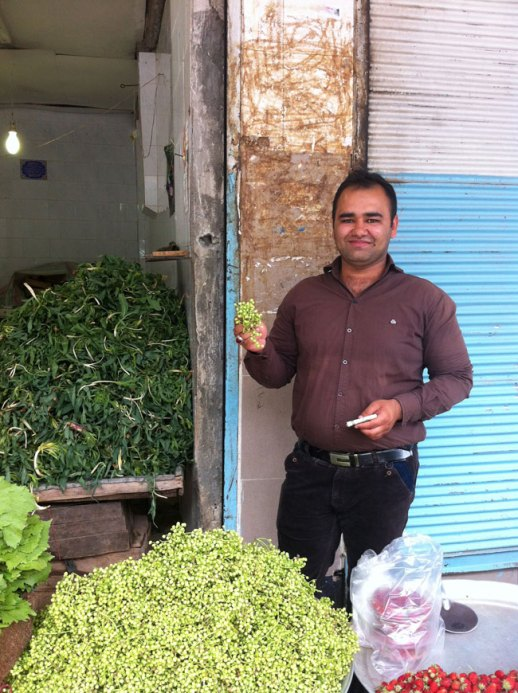Smiley farmer's market vendor at kermansha Iran outdoor bazar posing with boquet of vanooshk (aka wild or mountain pistachio)