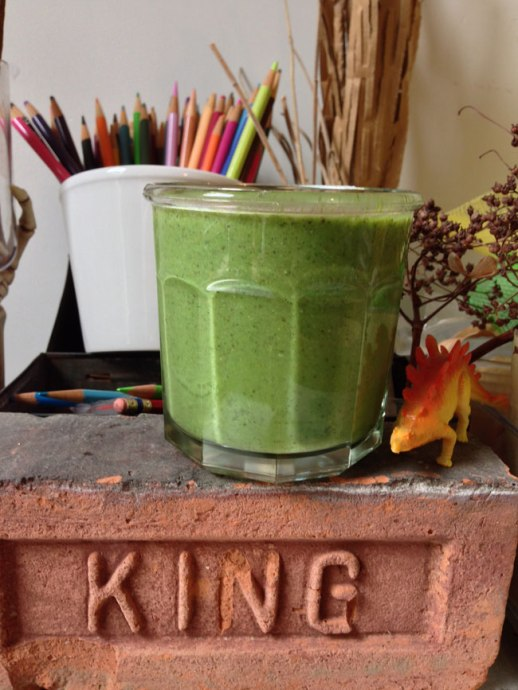 Still life with Persianized green smoothie, dinosaur & colored pencils | @figandquince (Persian food culture blog) #recipe