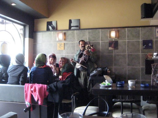 Musician  playing fiddle in Persian cafe in Tehran, Iran | FigandQuince.com (My Epic Trip to Iran, 2014)