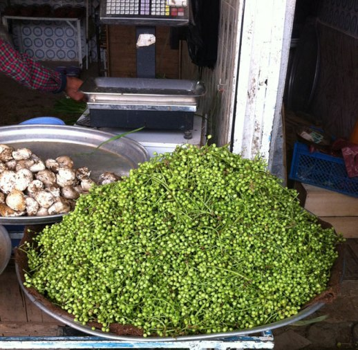 Heaping mound of Vanooshk (aka wild or mountain pistachio) in Kermanshah Bazar, Iran