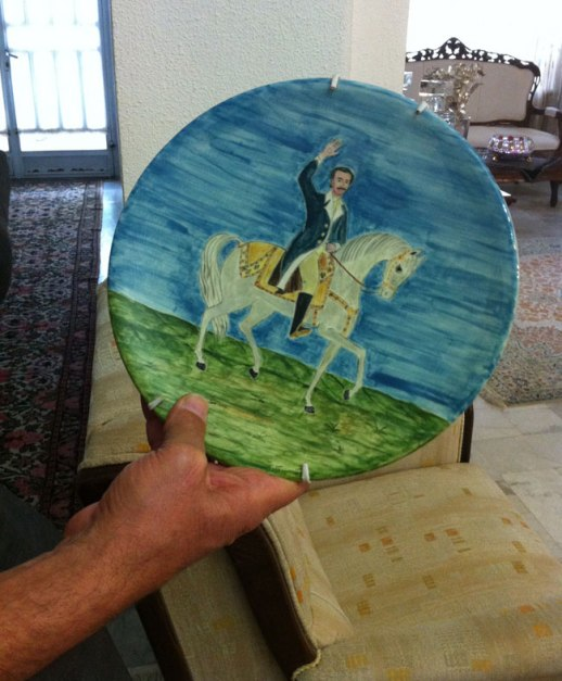 Aristo horseback rider and white horse painted on a plate, Kermanshah, Iran |@figandQuince (Persian food culture blog)