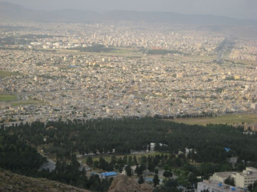 city of kermanshah aerial view from taghbostan mountain, iran