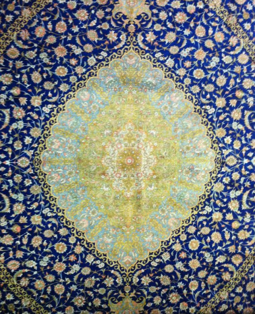 close up shot of beautiful Persian silk carpet pattern, Kermanshah, Iran | @figandQiunce (Persian food culture blog)