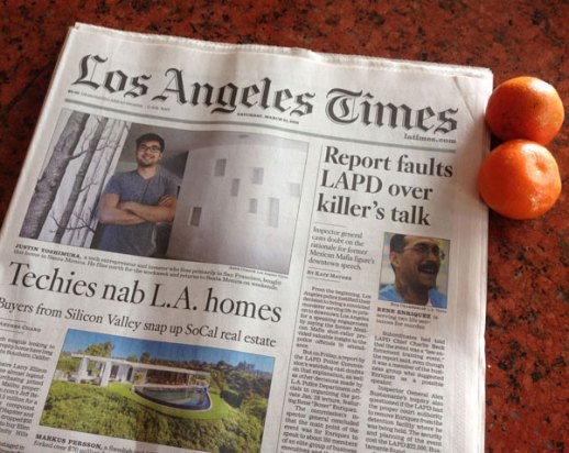 Los Angeles Times Newspapers and Tangerines - Norooz in Tehrangeles