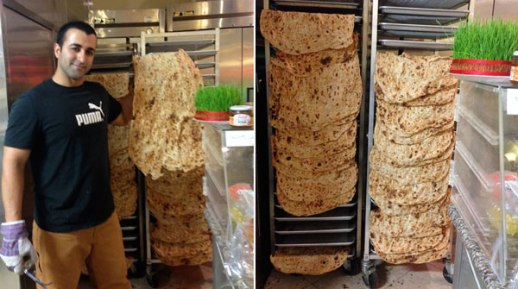 sangak Persian bread in Tehrangeles noonva yee