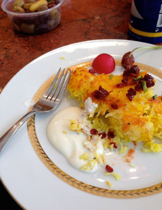 Tahchin (Persian rice) with berberries and yogurt