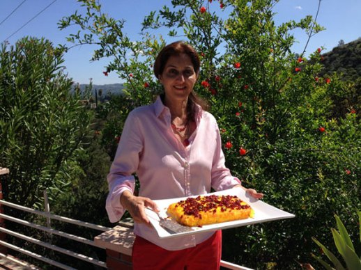 Pomegranate Blossoms and Tahchin in Tehranagles in Laya's Yard