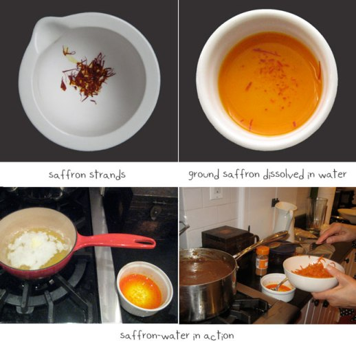 saffron thread, saffron water shown being used on stove to making persian food | FigandQiunce.com