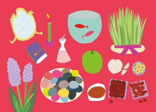 Norooz haft seen haftseen illustration happy graphic Persian New Year