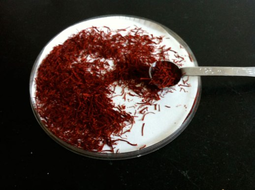 Persian saffron threads in a package with silver measuring spoon | FigandQuince.com (Persian Cooking and Culture blog)