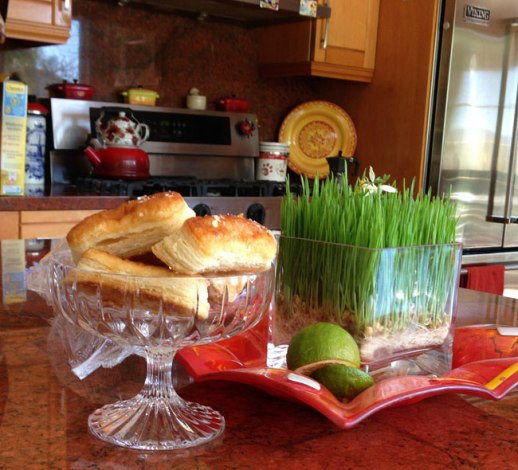zaban Persian pastry in goblet next to sabzeh (wheat grass) Norooz in Los Angeles aka Tehrangeles | FigandQuince.com (Persian Cooking and Culture blog)