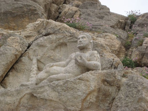 The statue of Hercules in Bisotun, 480 BC and discovered in 1957. Near Kermanshah, Iran