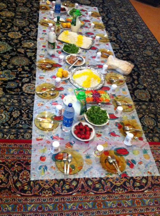 Persian feast on sofreh (not a table) in a garden in Kermanshah, Iran 2014