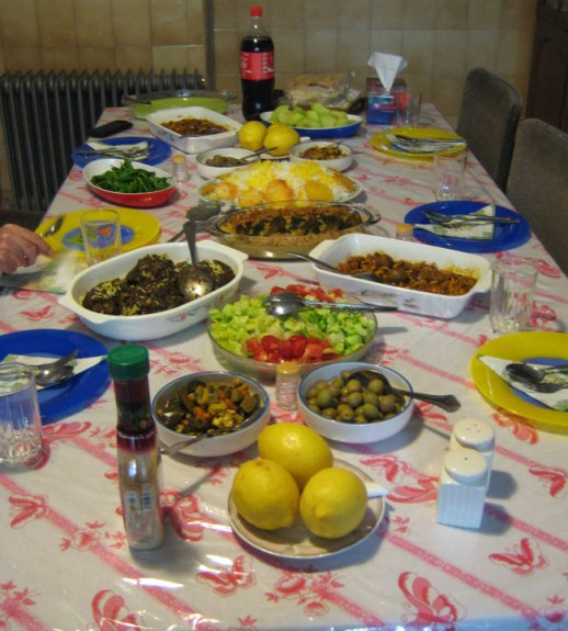 persian lunch feast, table set with lots of yummy iranian food Kermanshah Iran 2014