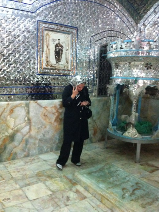 Roshanak inside the mirror wall shrine of Takieh Moaven ol Malek | Kermanshah, Iran @FigandQuince (persian food culture blog)