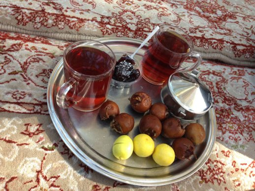 tray of tea with limoo dates azgil in Tehran, Iran | @figandquince (Persian food culture blog)