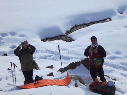 Female mountain climber snow Lavasan Tehran Iran